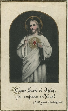 Old French Holy Card: Sacred Heart of Jesus, I trust in Thee